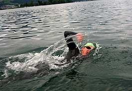 Switzerland: Professor Andreas Fath tests water quality during Rhine swim