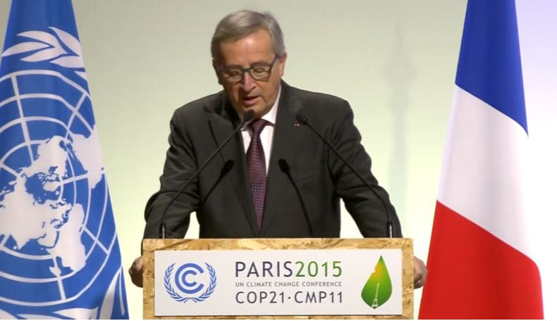 EU-president Juncker states only 'political will' can prevent risks climate change